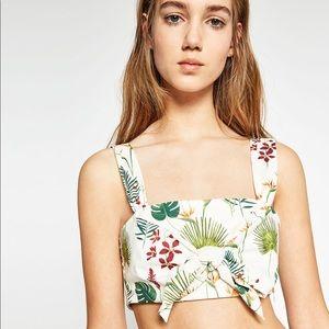 NWT Zara Tropical Palm Print Crop Top Front Tie